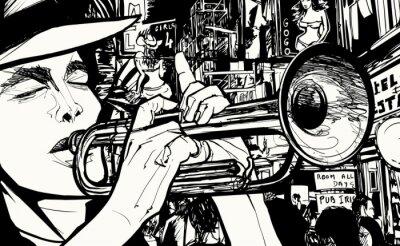 Posters homme jouant de la trompette dans une zone de lumière rouge
