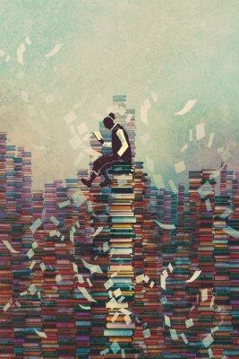 Posters Homme, lecture, Livre, quoique, séance, Tas, LIVRES, connaissance, concept ...