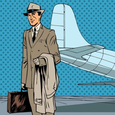 Posters Homme passager voyageurs de l'air en voyage d'affaires d'affaires pop art re