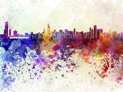 Posters Horizon de Chicago en fond d'aquarelle