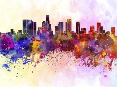Posters Horizon de Los Angeles en fond d'aquarelle