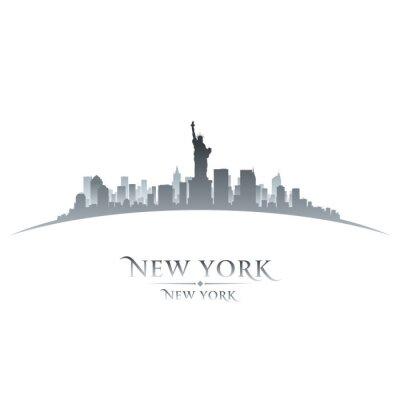 Posters Horizon de New York de la ville silhouette fond blanc