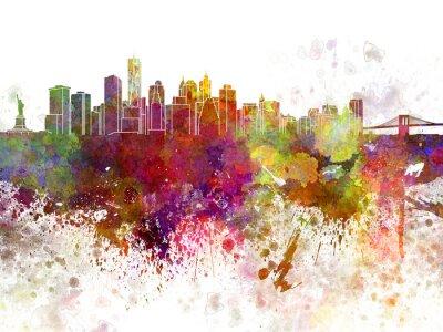 Posters Horizon de New York v2 en fond d'aquarelle