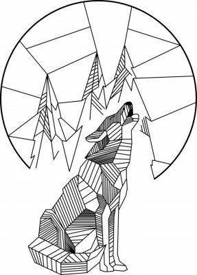 Posters Hurlement loup géométrique