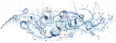 Posters Ice Cubes In Splashing - Cold And Refreshment