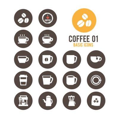 Posters icône Coffee set. Vector illustration.