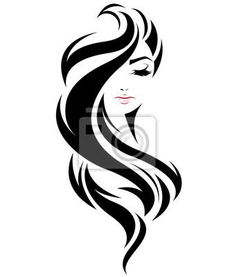 Posters Icone de style cheveux longs femme, logo femme face sur fond blanc