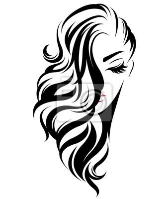 Posters icône de style de cheveux longs femme, logo femmes sur fond blanc