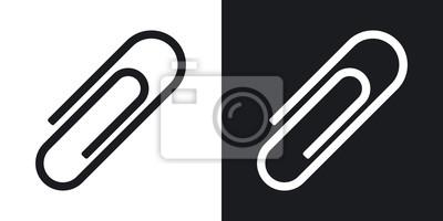 Posters Icône de trombone de vecteur. Version bicolore sur fond noir et blanc
