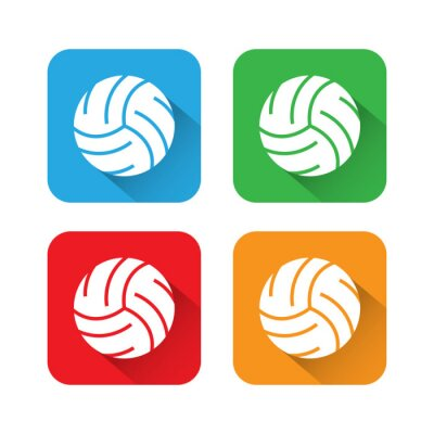 Posters Icône de volley-ball sombre et plat