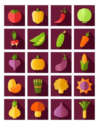 Posters Icone plat de légumes avec une longue ombre
