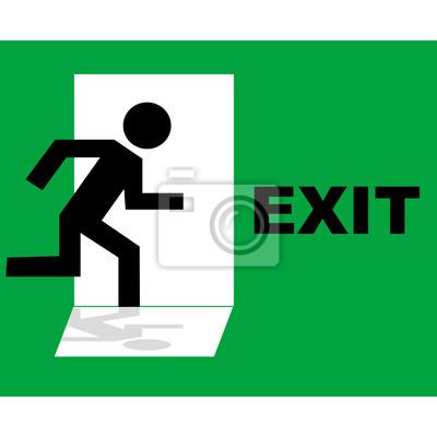 Icône verte de signe de sortie de secours