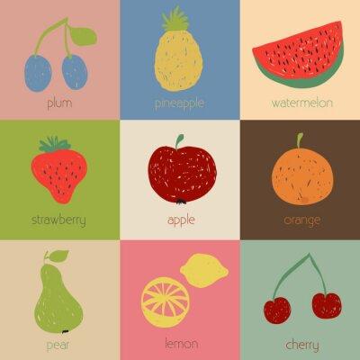 Posters Icônes de fruits Doodle en couleurs rétro