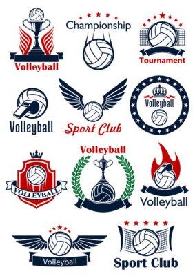 Posters Icônes de jeu de volley-ball, emblèmes et symboles