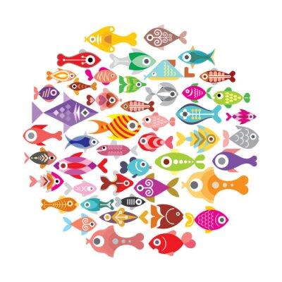 Posters icônes de poissons ronds