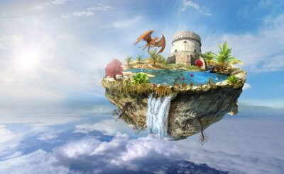 Posters île dragon vole dans l'espace