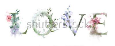 Posters illustration aquarelle avec fleurs sauvages, herbes - amour. Impression cool sur le t-shirt. Ancien Caractères