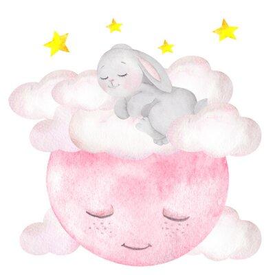 Posters Illustration aquarelle avec lapin mignon, lune, étoiles et nuages