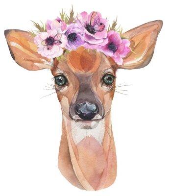 Posters Illustration aquarelle Mignon fauve avec des fleurs. Bébé cerf.