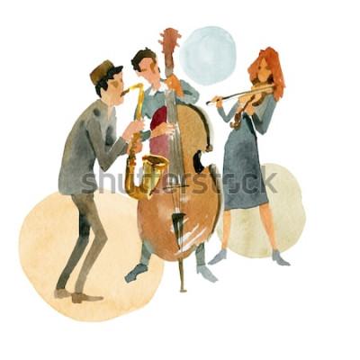 Posters Illustration aquarelle Trio de jazz instrumental composé d'une contrebasse, d'un violon et d'un saxophone