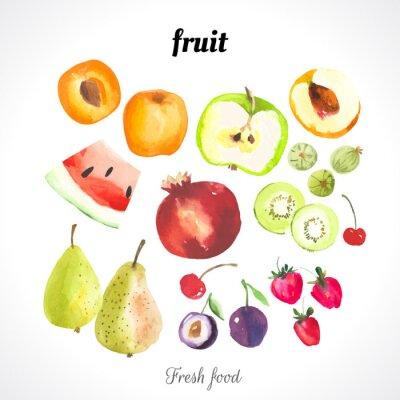 Posters Illustration avec de la nourriture de l'aquarelle.