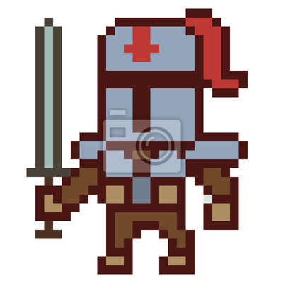 Posters Illustration Conception Pixel Art Chevalier