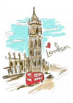 Posters Illustration Croquis de tour de Big Ben