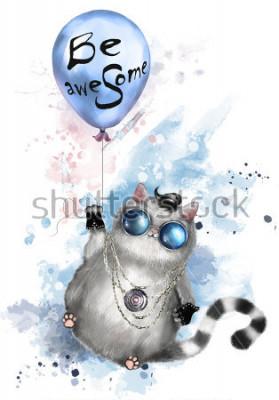 Posters Illustration d'un mignon dans un style rocker, avec des lunettes rondes et des bijoux. Chat volant sur un ballon avec lettrage - soyez génial. Splash peinture aquarelle. T-shirt, imprimé cool