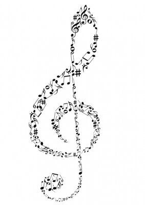 Posters Illustration d'une clef de G avec des notes de musique