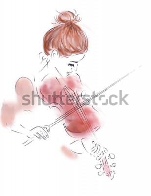 Posters Illustration d'une fille jouant du violon