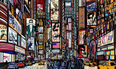 Posters Illustration d'une rue de New York - times square - illustration vectorielle