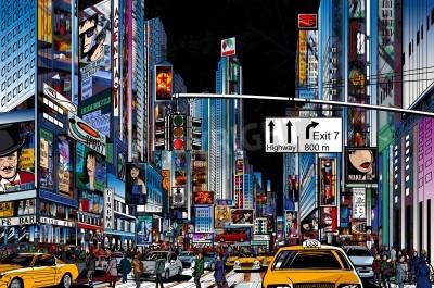 Posters Illustration d'une rue de ville de New York dans la nuit