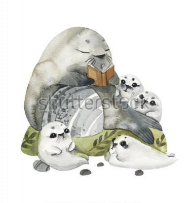 Posters Illustration de beaux phoques de fourrure dans un style Aquarelle. Le grand père éclairé de ses petits enfants. Histoires en images.