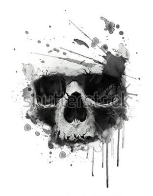 Posters Illustration de crâne aquarelles