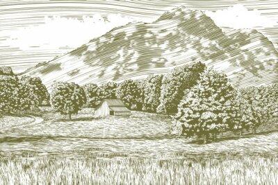 Posters Illustration de gravure sur bois d'une ferme et d'une grange avec une montagne en arrière-plan.