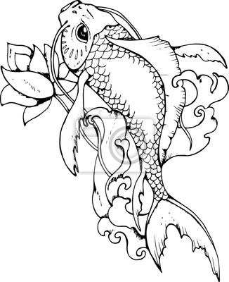 Dessin Carpe Japonaise illustration de la carpe japonaise. dessin noir et blanc affiches