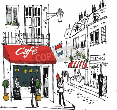 Posters illustration de village français scène de rue de café
