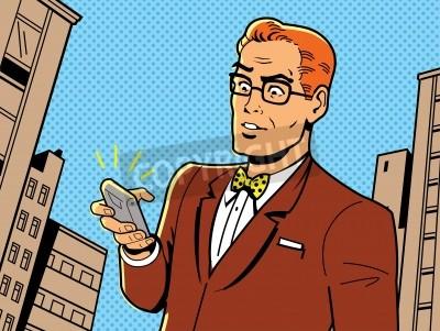 Posters Illustration ironique d'un 1940 ou 1950 rétro homme avec des lunettes, Bow Tie et Smartphone moderne