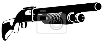 Posters Illustration noir et blanc avec un fusil de chasse isolé sur blanc
