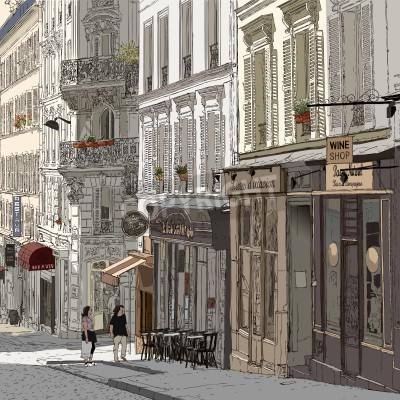 Posters illustration of a street in Montmartre Paris