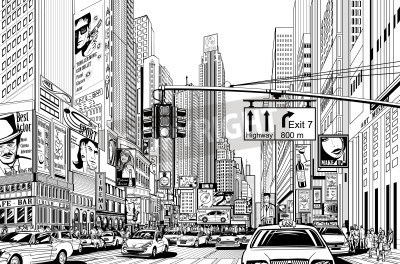 Posters Illustration of a street in New York city