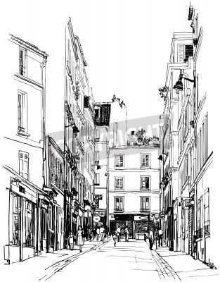 Posters illustration of a street near Montmartre in Paris