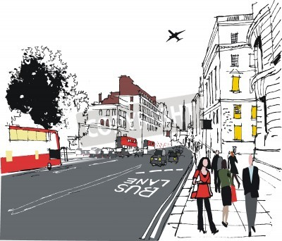 Posters illustration of commuters on London city street