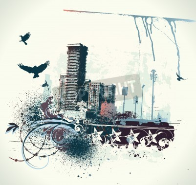 Posters illustration of urban background with grunge stained Design elements