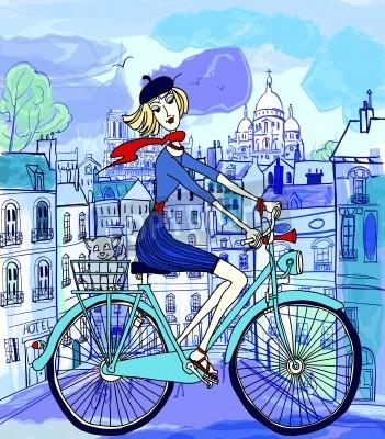 Posters illustration vectorielle d'une jeune femme sur un vélo à Paris