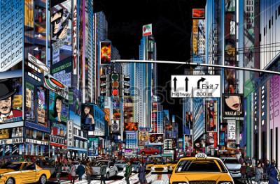 Posters Illustration vectorielle d'une rue à New York dans la nuit