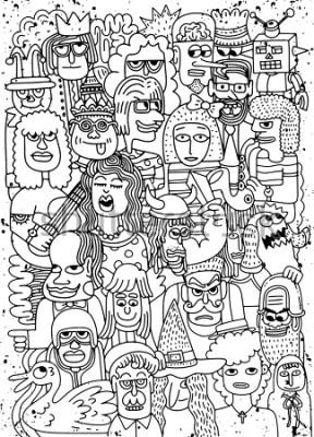 Posters Illustration vectorielle de la bande dessinée de visages foule motif griffonnage dessiné à la main, style Doodle