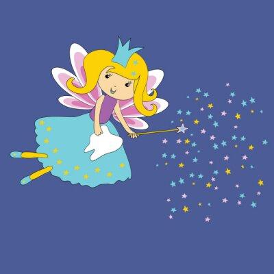 Posters Illustration vectorielle de la fée des dents avec la baguette magique et les étoiles sur fond bleu. Premier certificat dentaire.