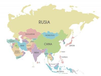 Posters Illustration vectorielle de politique Asie carte isolé sur fond blanc avec les noms de pays en espagnol. Calques modifiables et clairement étiquetés.