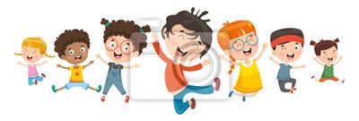 Posters Illustration vectorielle des enfants qui jouent